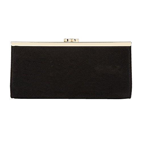 Lotus Handbags Dina Negro Microfibra Y Negro Impresión Bolsa De Embrague