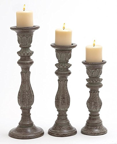 Deco 79 51531 Wood Candle Holder S/3 18