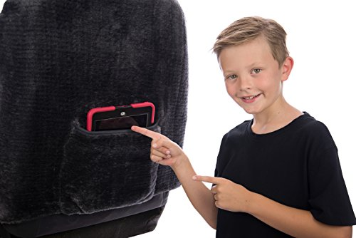 Sheepskin Car Seat Covers, Premium Set of 2, Genuine Australian Sheepskin Front, Universal Size, Back Storage Pocket, Stylish Design, Gray Color by Eden & Main (Image #6)