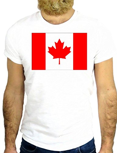 T SHIRT Z0221 CANADA TORONTO MONTREAL FLAG VANCOUVER COOL NORTH AMERICA GGG24 BIANCA - WHITE XL