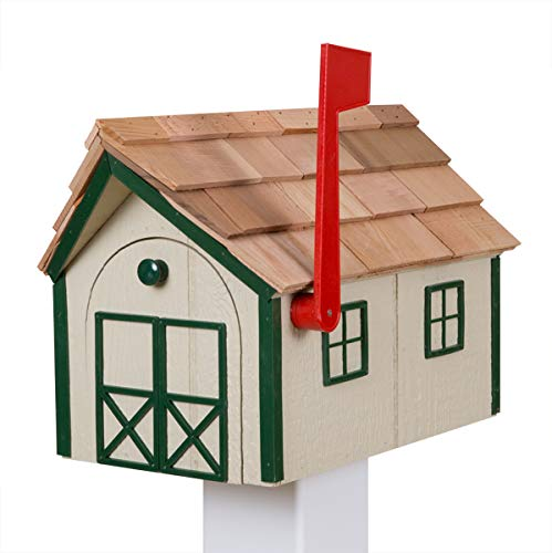 Amish Made Wooden Mailbox with Cedar Roof, Painted Post Mount Mailbox ... (Beige)
