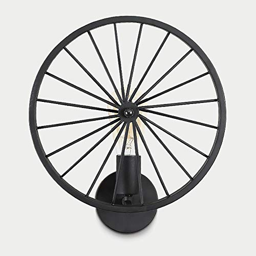 FXX Creative Wheel Wall Light, Rustic Vintage Industrial Style Wall Lamp Suitable for Balcony, Aisle, Villa, Clubhouse, Hotel, Western Restaurant (Excluding Light Source),Black (Best Western Leisure Inn)