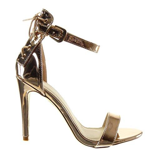 Angkorly - Scarpe da Moda scarpe decollete sandali stiletto sexy donna merletto tanga Tacco Stiletto tacco alto 10.5 CM - Champagne
