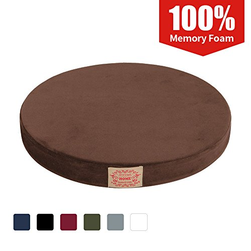 Shinnwa Polyester Supper Soft Cushion Round Memory Foam Seat Cushion Short Plush Lumbar Support Pillow Home Office Chair Pad Brown 16