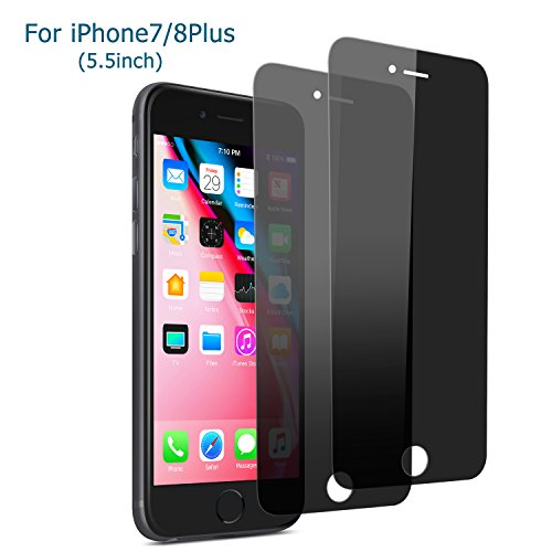 iPhone 7 Plus /8 Plus Privacy Screen Protector, Atill 2 Pack Anti-Spy Tempered Glass Screen Protector for Apple iPhone 7/ 8 Plus (Black, 2Pack) (Tempered Glass Sun)