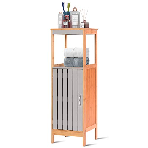 "Tangkula Bathroom Floor Cabinet, Freestanding Single Door Bamboo 3-Tier Storage Organizer Unit w/Adjustable Shelf Multifunctional for Bathroom Living Room Bedroom Modern Storage Cabinet (12""x12""x38"")"