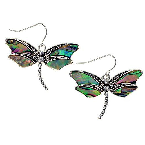PammyJ Silvertone with Green Abalone Dragonfly Dangle Earrings