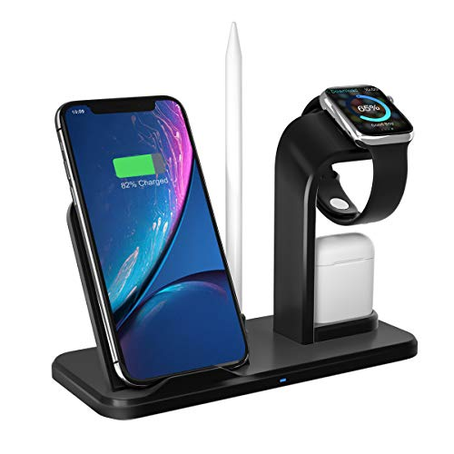 Wireless Charger Stand, APHQUA 3 in 1 Wireless Charging Stand Station for Airpods & iWatch 4/3/2/1, Qi Fast Wireless Charger Fit for iPhone X/XS/XS Max/XR/8/8+ Samsung Galaxy S10/S9/S7