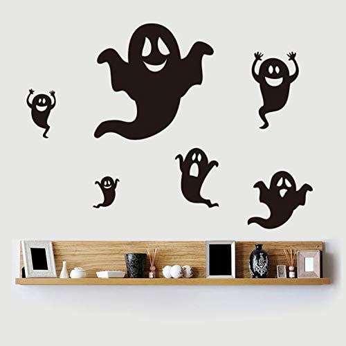 Han Shi Halloween Sticker, Happy Holiday Black Ghost Wallpaper Window Home Decor (M, Black)