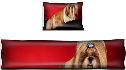 MSD Mouse Wrist Rest and Keyboard Pad Set, 2pc Wrist Support IMAGE ID: 12539656 Shih Tzu dog with blue hairpin sideview Shot in studio on wine red b