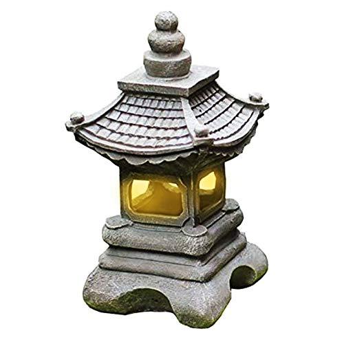 Uziqueif Statue de Lampe de Jardin de lumière Solaire de pagode de Lanterne de Jardin Zen Solaire de Style Japonais…