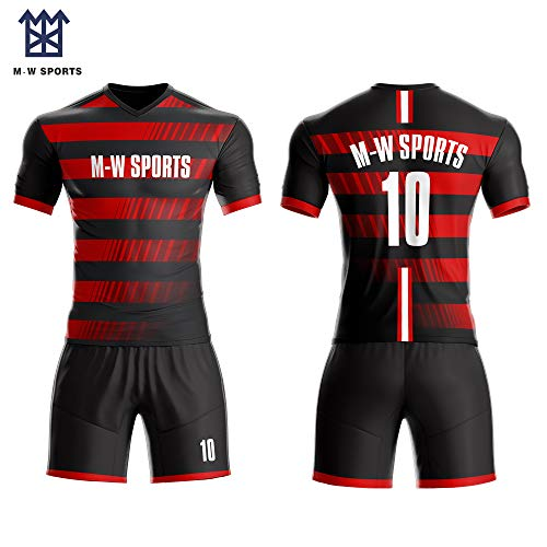 2019 Sublimated Customize Soccer Jersey Football Team Uniform OEM Logos Name Numbers Training Suits (red, L)