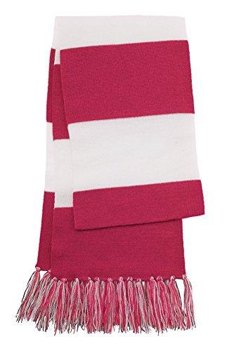 Dri-Wick Knit Stripe Scarf with Fringe (Pink Raspberry/White) (Scarf Pink Stripe)