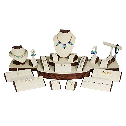 (21-Pc Set) Beige Linen with Wood Pattern Trim Jewelry Display Set (Set60-N33) 37'' x 18'' x 11 5/8'' H by EDs
