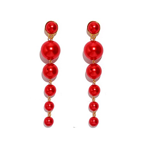 - MOOCHI Red Simulated Pearl Beads Long Dangle Trendy Earings Elegant String Statement Wedding Party Gift for Women