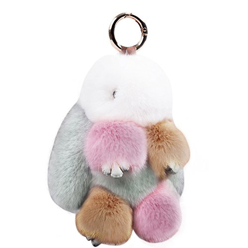 KUMEED Rex Rabbit Bunny Keychain Easter Rabbit Fur Fluffy Cute Pom Pom Key Ring Pendant Key Chains for Women Girl Bag Handbag Car Decoration Multicolor