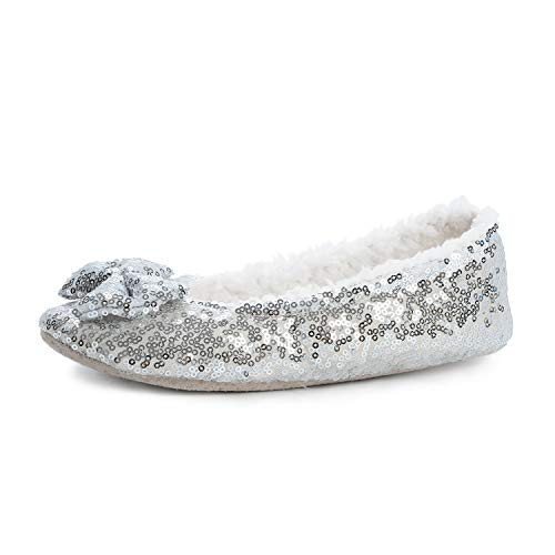 (Surblue Women's Ballerina Bing Metallic Shine Warm Indoor House Cozy Sequin Slippers/Shoes (M/7-8US, Silver))