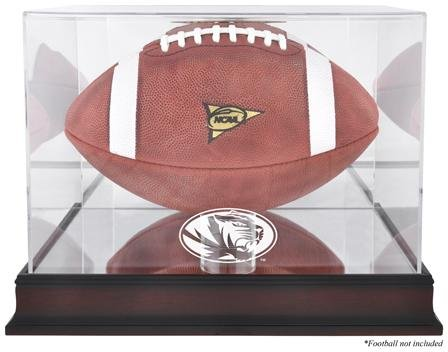 Missouri Tigers Logo Football Display Case | Details: Mahogany, Mirror Back, Bottom