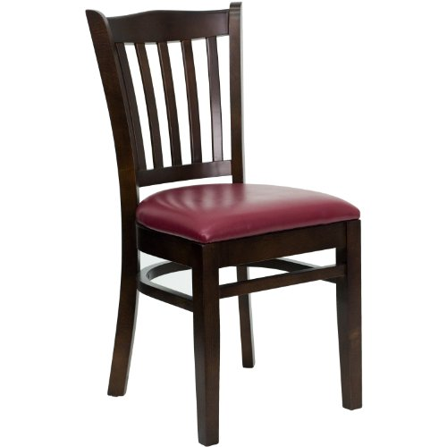 MFO Walnut Finished Vertical Slat Back Wooden Restaurant Chair - Burgundy Vinyl Seat