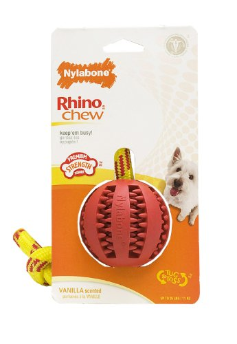 Nylabone Rhino Rope Tug Dog Toy with Rubber Ball, My Pet Supplies