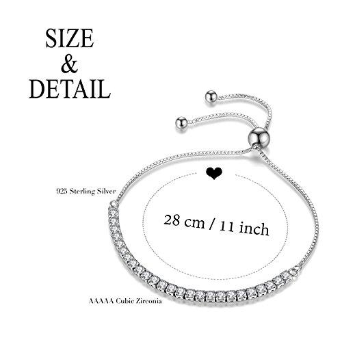 J.Fée Adjustable Bangle Bracelet Cubic Zirconia Diamond Silver Tone Bracelet for Women Christmas Birthday Gifts for Girls Wife Girlfriend Daughter Anniversary Gifts for Sister Mom Her Link Bracelet