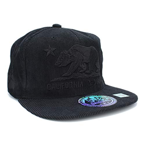 Embroidered California Republic with Bear Claw Scratch Snapback Cap (Black/Corduroy)