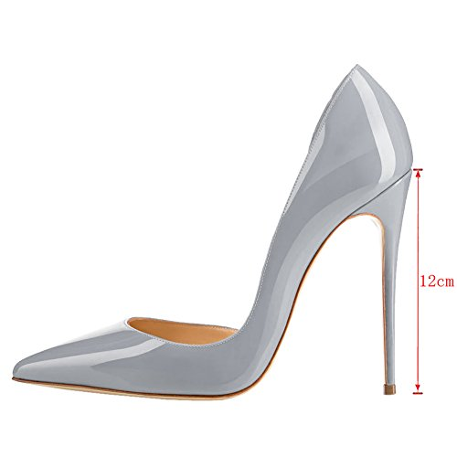 EKS Damen Stilett Spitze Partei Pumps High Heels Grau-Lackleder