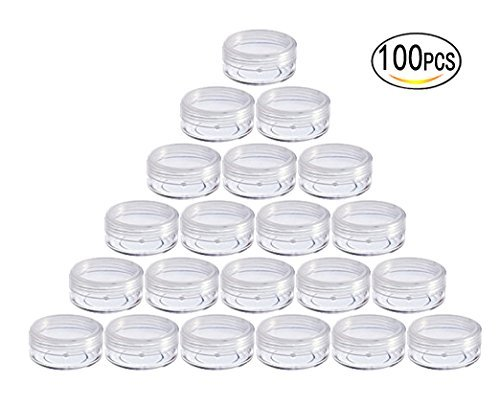 10 Gram Empty Plastic Cosmetic Containers, Clear Round Sample Pot Jar Screw Cap Lid, For Lip Balm, Eye Shadow, Nail Powder, Creams, Lotions-BPA Free