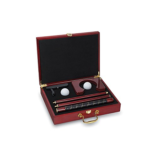 Executive Travel Putter Set In wood Case (Brown, - Executive Putting Cup