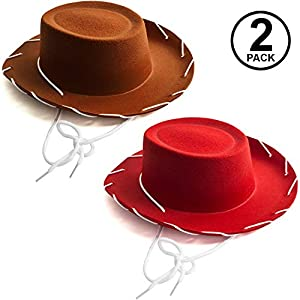 Funny Party Hats Kids Cowboy Hat – Brown & Red Cowboy Hats – Children's Cowboy Costume – Western Hats – 2 Pack