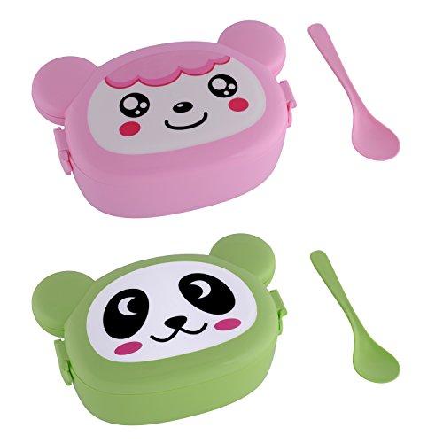 Brotdose mit lustigem Tiergesicht für Kinder - PBA frei - 2 Stück - für Mädchen und Jungen - bunte Lunchbox für Kindergarten Kita und Schule - praktisch für die Frühstückspause oder für Unternehmungen mit Rucksack - Brotkasten - Brottopf - Brotzeitbox (Pink + Green Bear)