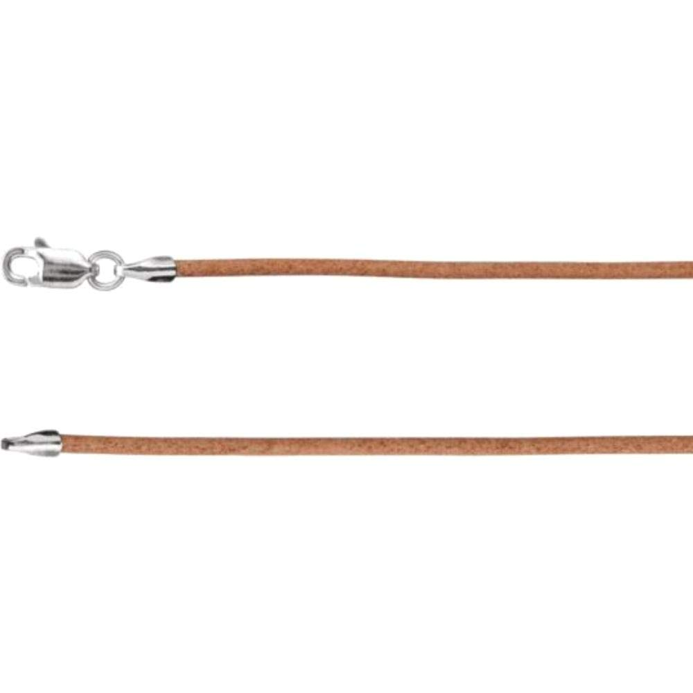 Bonyak Jewelry Sterling Silver 1.5 mm Natural Leather 18 Cord