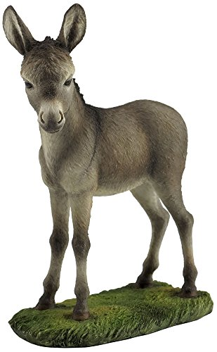 7.13 Inch Baby Donkey Standing Decorative Figurine, Gray and White ()