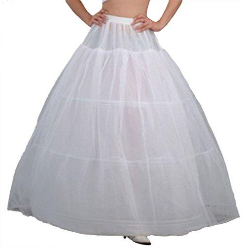 (V.C.Formark 3 Hoops Petticoat Slip Bridal Gown White Underskirt for Girls and Petite)