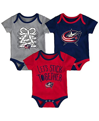 (Outerstuff NHL Newborn Infants Five on Three 3 Piece Creeper Bodysuit Set (0/3 Months, Columbus Blue Jackets))
