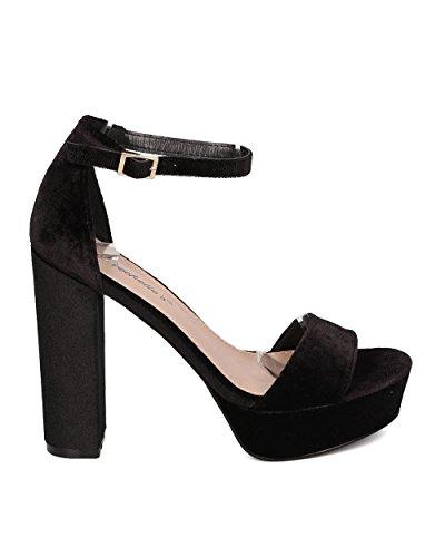 Breckelles Women Platform Block Heel Sandal - Ankle Strap Chunky Heel - Versatile Dressy Heel - HK95 by Black Velvet dHwlzhR