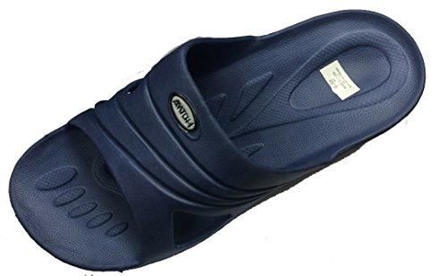 Beleven Menns Gummi Sandal Tøffel Komfortabel Dusj Strand Sko Slip På Vippen Blå