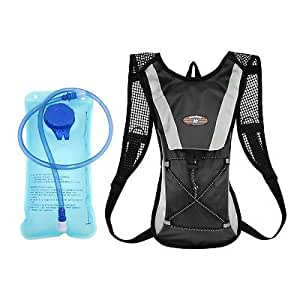 OZSTOCK® Hydration Pack + 2L Water Bladder Bag Backpack Cycling Bicycle Hiking Camping (Black)