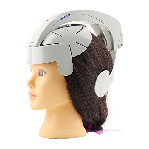 Genmine Electric Head Massager Brain Massage Helmet Scalp Relax Acupuncture Points Gray With Adjustable Size and 8 Modes For Stress Relax Metabolism Sleep Quality Health Care