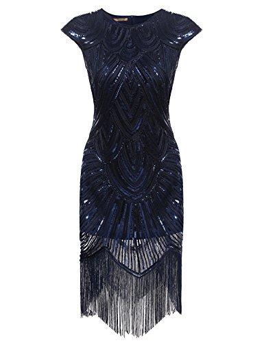 Gastby Sequined Embellished Fringed Flapper Dress (X-Large, Blue) ()