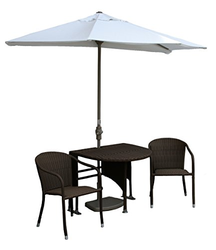 Wall Natural Olefin Umbrella (Blue Star Group Terrace Mates Genevieve All-Weather Wicker Java Color Table Set w/ 7.5'-Wide OFF-THE-WALL BRELLA - Natural Olefin Canopy)
