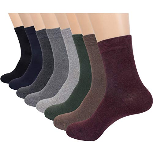 FITEXTREME Mens 8 Pairs Solid Comfort Casual Dress Fashion Crew Socks Pack C