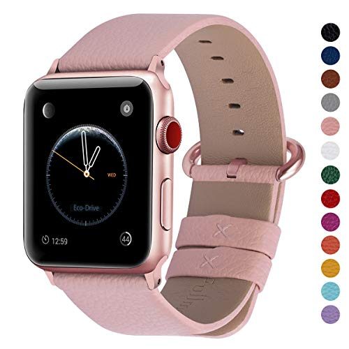 Fullmosa Compatible Watch Band 38mm 40mm 42mm 44mm Calf Leather Smart Watch Band Replacemen,38mm 40mm Soft Pink + Rose Gold Buckle