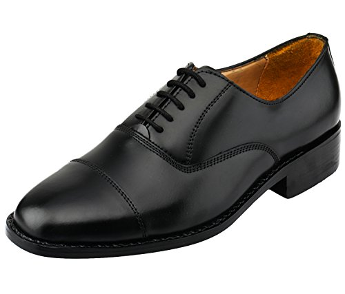 Lethato Captoe Oxford Goodyear Welted Formal Handmade Leather Dress Shoes- Black - Leather Sole Dress Shoes