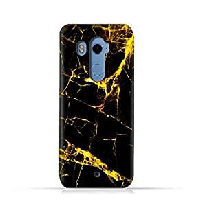 HTC U11 Plus TPU Silicone Case With Dark And Gold Mesh Marble Pattern