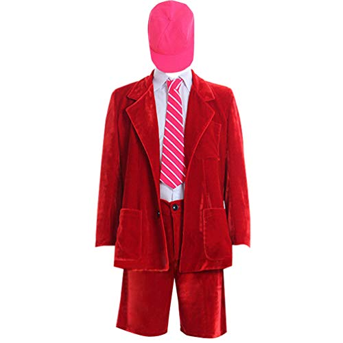 Adult Mens Red Fancy Costume Outfit Suit for Halloween Party -