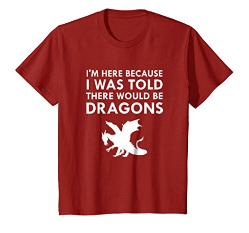 Price comparison product image Kids I Was Told There Would Be Dragons Mythical Creature T-Shirt 8 Cranberry