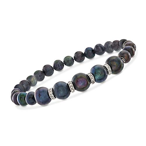 Ross-Simons 6-8.5mm Black Cultured Pearl and .25 ct. t.w. Diamond Stretch Bracelet in Sterling Silver