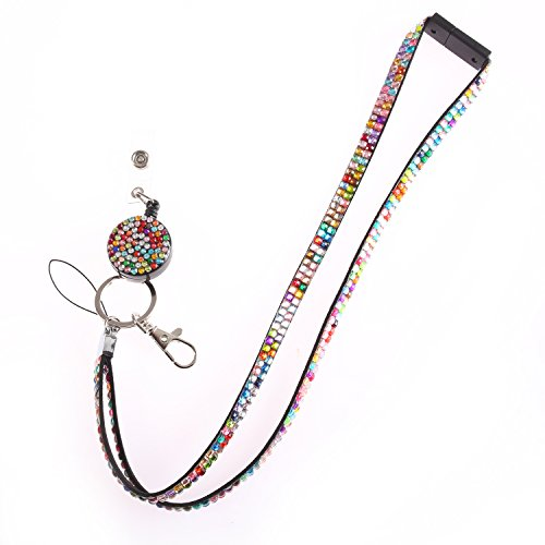 Fashion Glitter Retractable Rainbow Bling Crystal Lanyard Cute Rhinestone Badge Holder With Necklace + Badge Reel+Breakaway Safety Clasp For Girl,Woman,Lady (Badge Jeweled Reel)