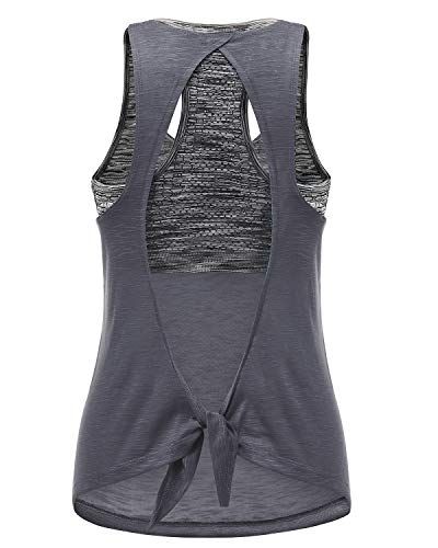 Women's Lightweight Sexy Yoga Tops with Sport Bra, Open Back Tank Top for Workout Exercise Running Gym (Dark Gray&Gray Bra, XL) (Design Open Back)